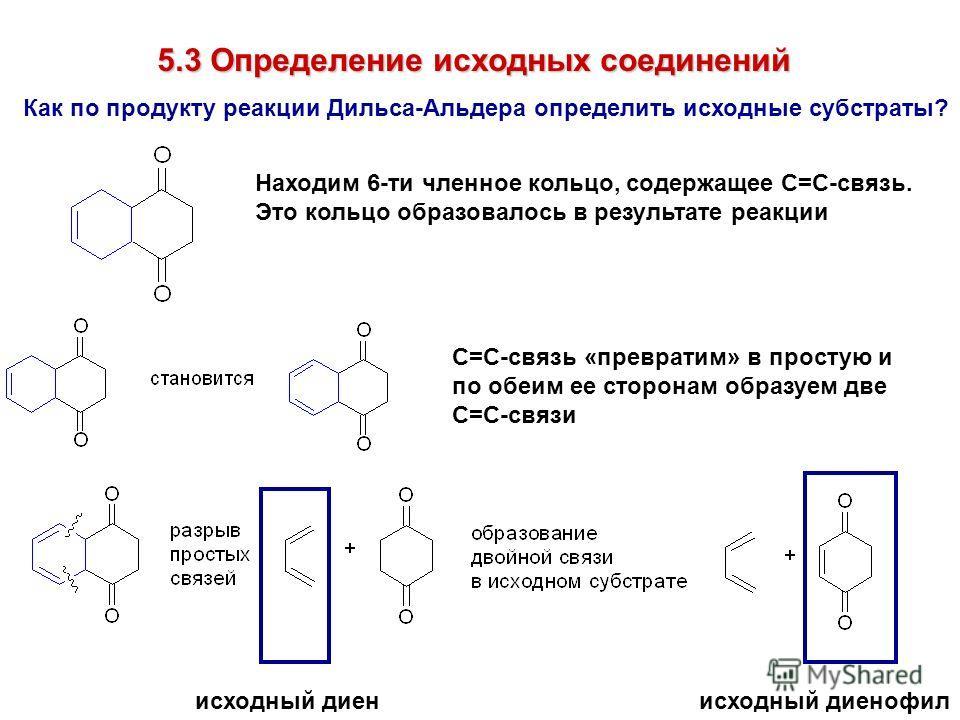 5.3 Определение исходных соединений Как по продукту реакции Дильса-Альдера определить исходные субстраты? Находим 6-ти членное кольцо, содержащее С=С-связь. Это кольцо образовалось в результате реакции С=С-связь «превратим» в простую и по обеим ее ст