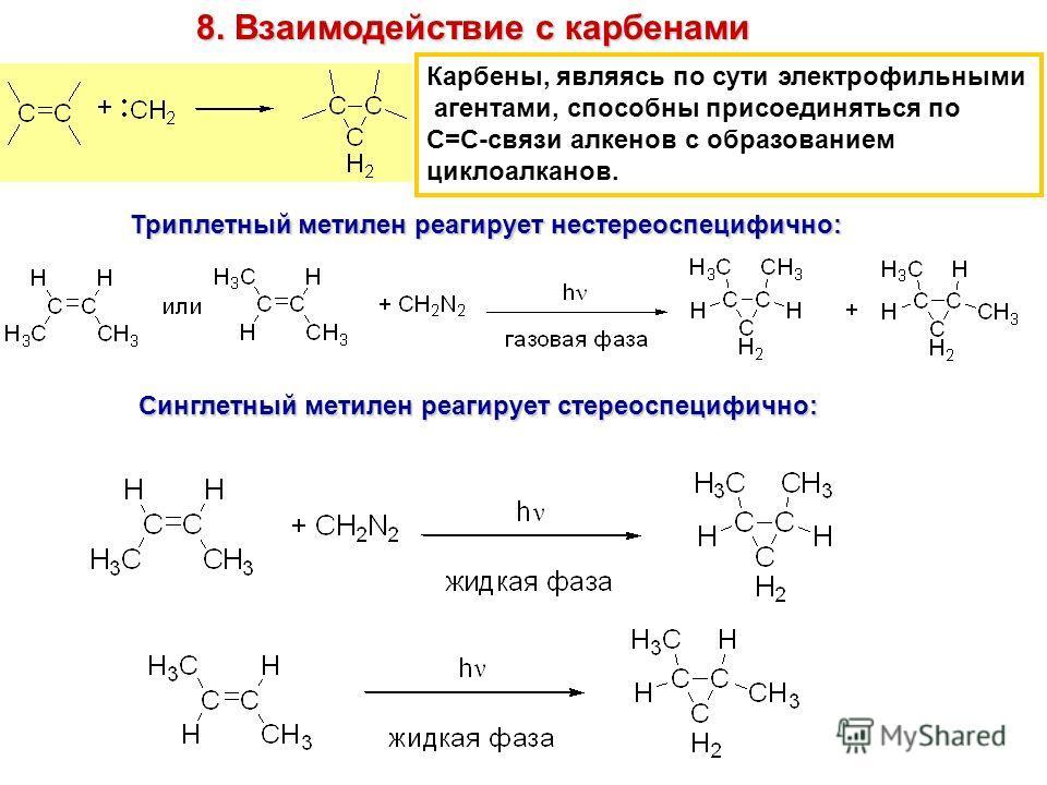 8. Взаимодействие с карбенами Карбены, являясь по сути электрофильными агентами, способны присоединяться по С=С-связи алкенов с образованием циклоалканов. Триплетный метилен реагирует нестереоспецифично: Синглетный метилен реагирует стереоспецифично: