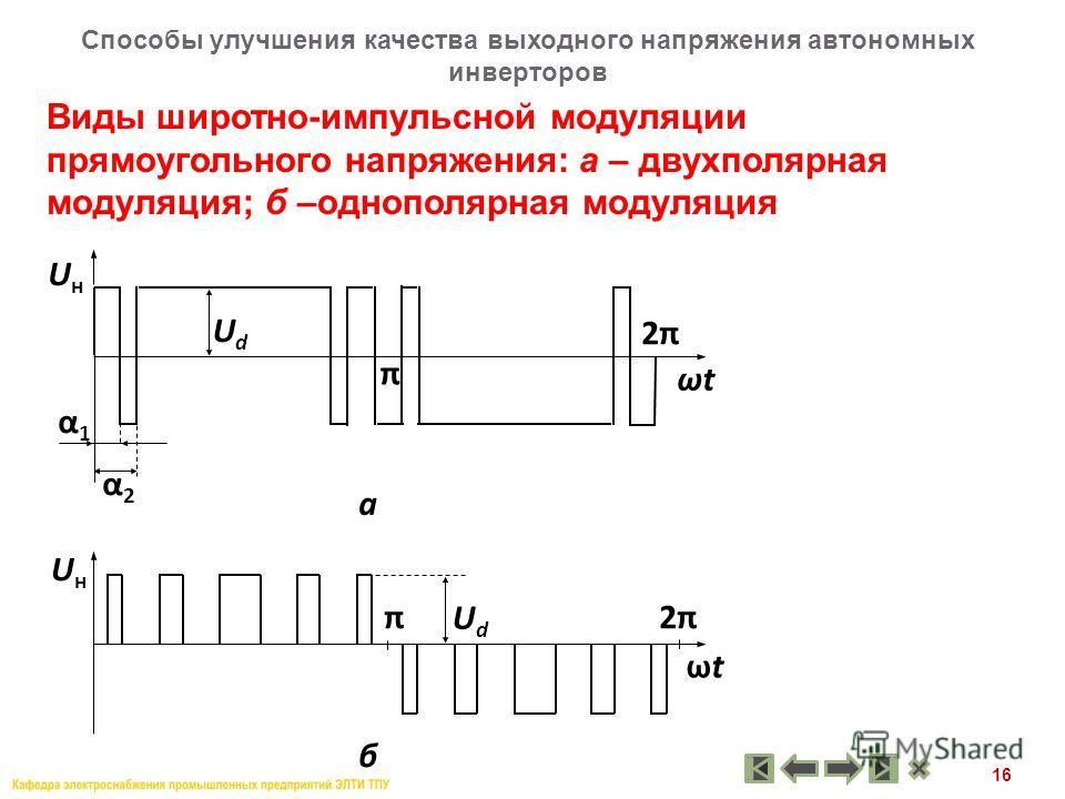 16 Виды широтно-импульсной модуляции прямоугольного напряжения: а – двухполярная модуляция; б –однополярная модуляция Способы улучшения качества выходного напряжения автономных инверторов ωt UнUн UdUd UнUн 2π2π π α1α1 α2α2 π ωtωt 2π2π UdUd а б
