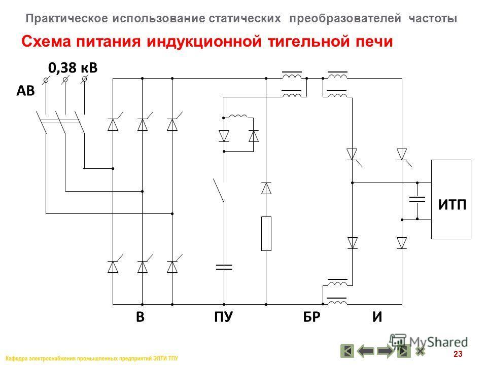 23 Схема питания индукционной тигельной печи Практическое использование статических преобразователей частоты В 0,38 кВ БРИПУ ИТП АВ