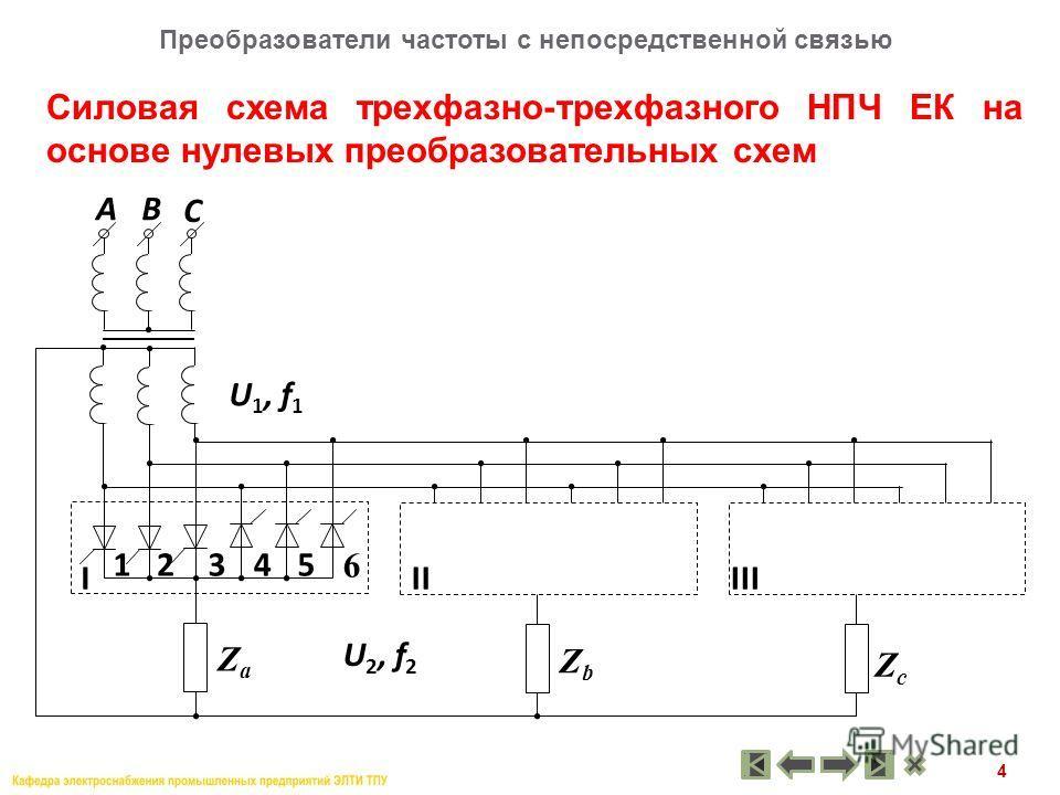 4 Силовая схема трехфазно-трехфазного НПЧ ЕК на основе нулевых преобразовательных схем Преобразователи частоты с непосредственной связью АВ I U 1, f 1 U 2, f 2 2345 6 IIIII 1 ZaZa ZbZb ZcZc C