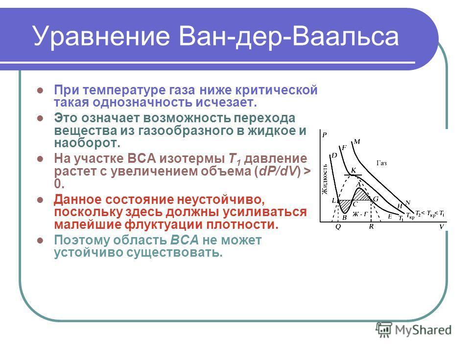 Уравнение Ван-дер-Ваальса При температуре газа ниже критической такая однозначность исчезает. Это означает возможность перехода вещества из газообразного в жидкое и наоборот. На участке ВСА изотермы Т 1 давление растет с увеличением объема (dP/dV) >