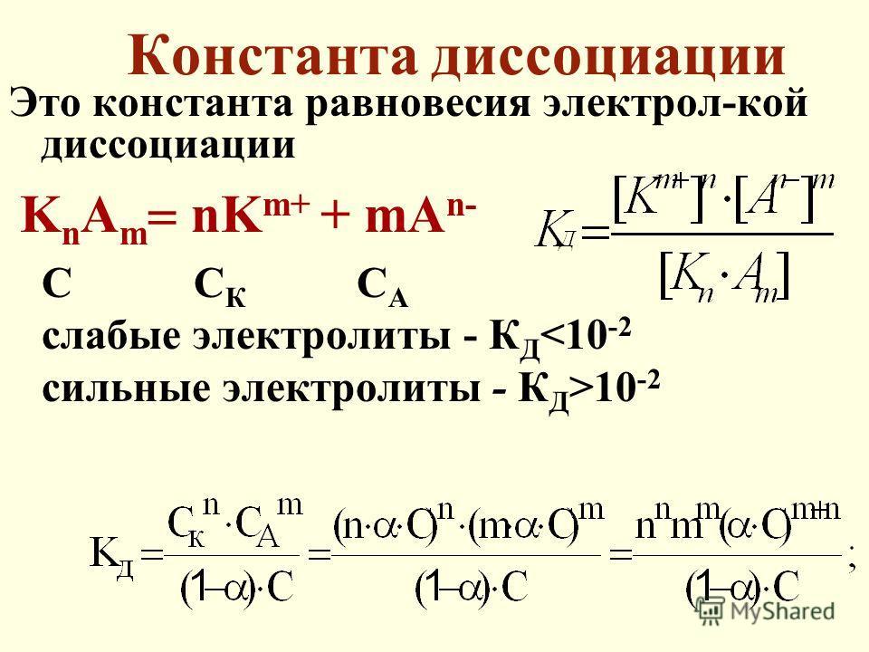 Константа диссоциации Это константа равновесия электрол-кой диссоциации K n A m nK m+ + mA n- С С К С А слабые электролиты - К Д 10 -2