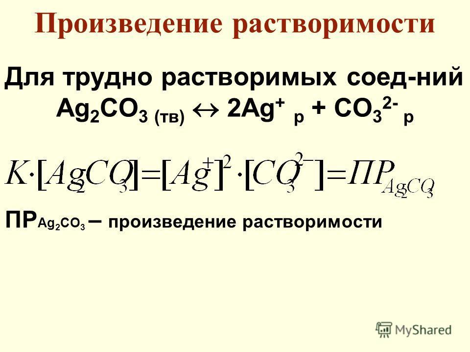 Произведение растворимости Для трудно растворимых соед-ний Ag 2 СO 3 (тв) 2Ag + р + CO 3 2- р ПР Ag 2 CO 3 – произведение растворимости