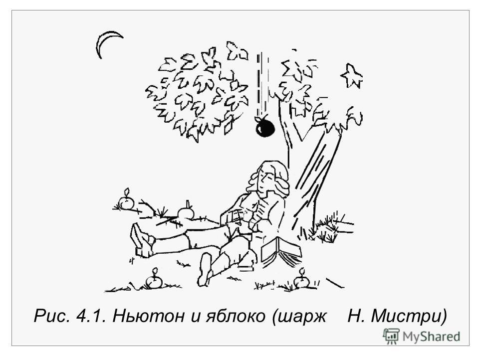 Рис. 4.1. Ньютон и яблоко (шарж Н. Мистри)