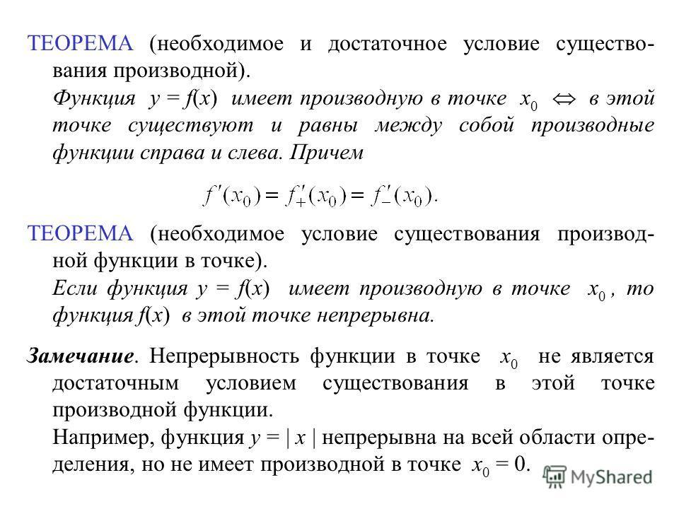 ТЕОРЕМА (необходимое и достаточное условие существо- вания производной). Функция y = f(x) имеет производную в точке x 0 в этой точке существуют и равны между собой производные функции справа и слева. Причем ТЕОРЕМА (необходимое условие существования