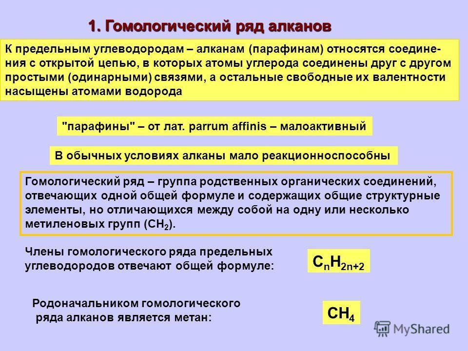 К предельным углеводородам – алканам (парафинам) относятся соедине- ния с открытой цепью, в которых атомы углерода соединены друг с другом простыми (одинарными) связями, а остальные свободные их валентности насыщены атомами водорода