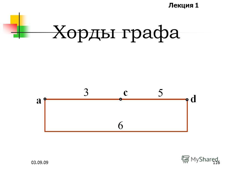 Лекция 1 03.09.09115 Хорды дополняют дерево до исходного графа