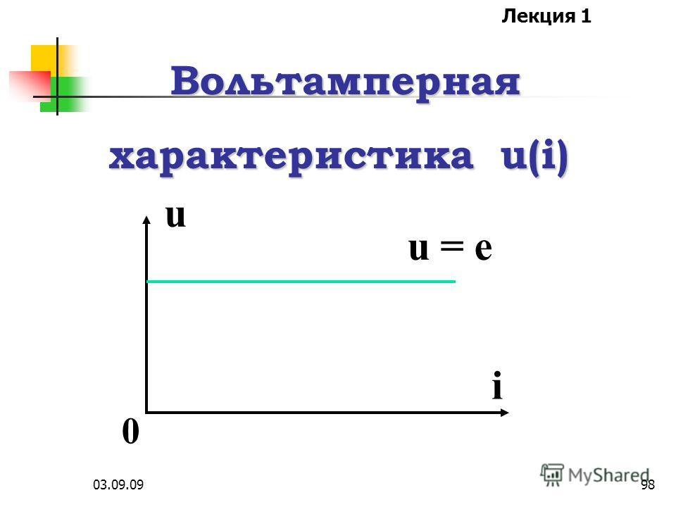Лекция 1 03.09.0997 Идеальный источник ЭДС е характеризуется напряже- нием u, которое не зависит от протекающего тока i, причем сопротивление этого источника равно нулю.