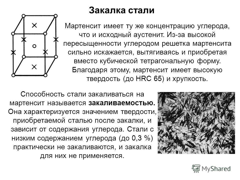 Мартенсит имеет ту же концентрацию углерода, что и исходный аустенит. Из-за высокой пересыщенности углеродом решетка мартенсита сильно искажается, вытягиваясь и приобретая вместо кубической тетрагональную форму. Благодаря этому, мартенсит имеет высок
