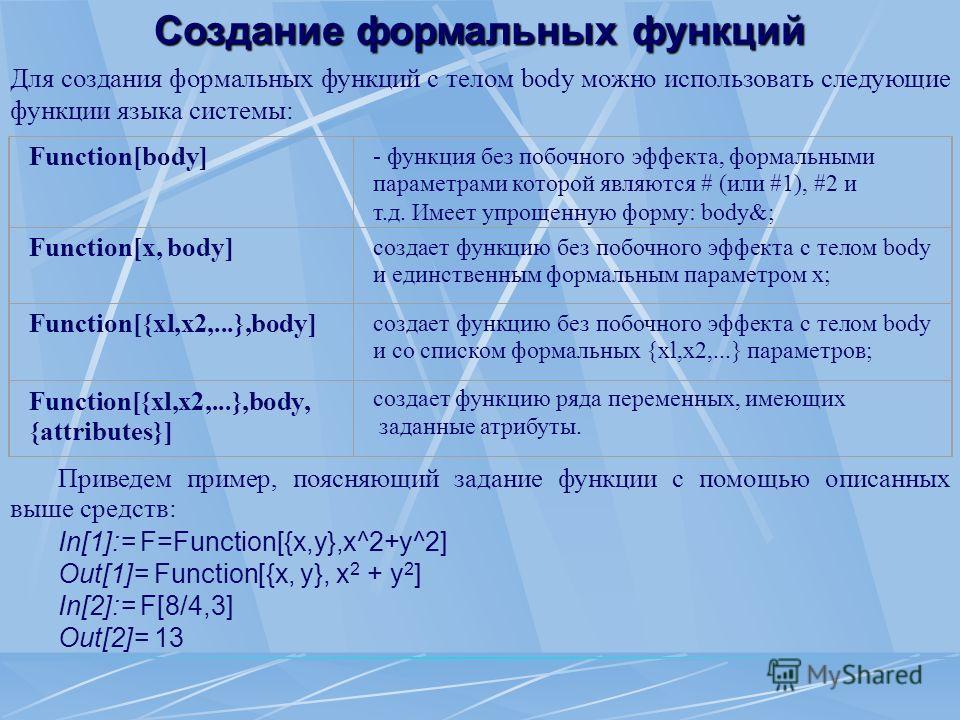 Создание формальных функций Приведем пример, поясняющий задание функции с помощью описанных выше средств: In[1]:= F=Function[{x,y},x^2+y^2] Out[1]= Function[{x, y}, x 2 + y 2 ] In[2]:= F[8/4,3] Out[2]= 13 Для создания формальных функций с телом body