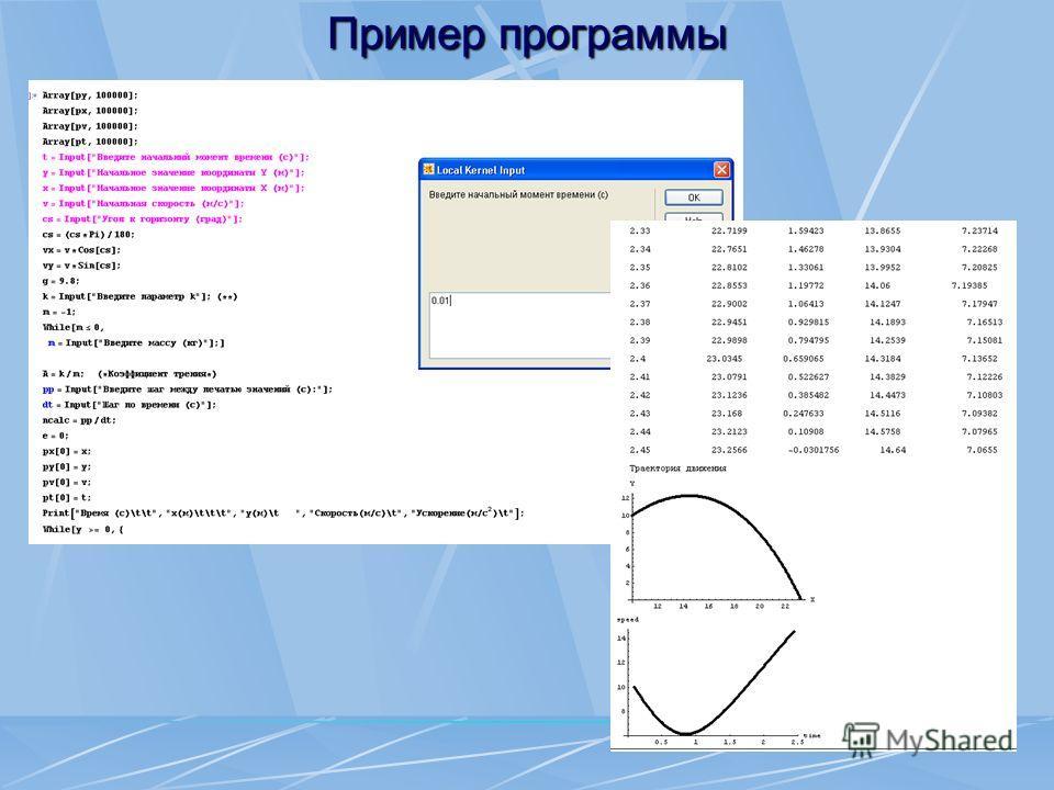 Пример программы