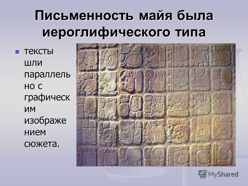 Письменность майя была иероглифического типа тексты шли параллель но с графическ им изображе нием сюжета. тексты шли параллель но с графическ им изображе нием сюжета.