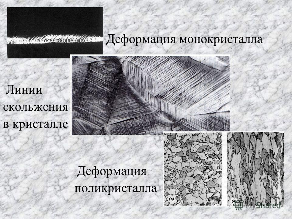 Деформация монокристалла Линии скольжения в кристалле Деформация поликристалла
