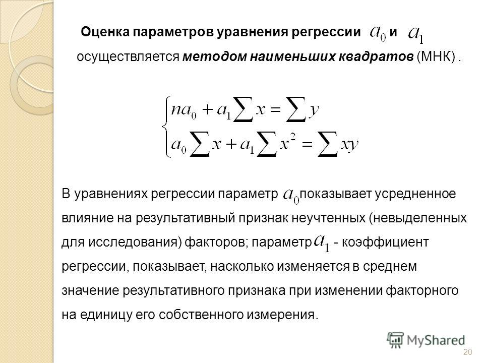 Оценка параметров уравнения регрессии и осуществляется методом наименьших квадратов (МНК). В уравнениях регрессии параметр показывает усредненное влияние на результативный признак неучтенных (невыделенных для исследования) факторов; параметр - коэффи