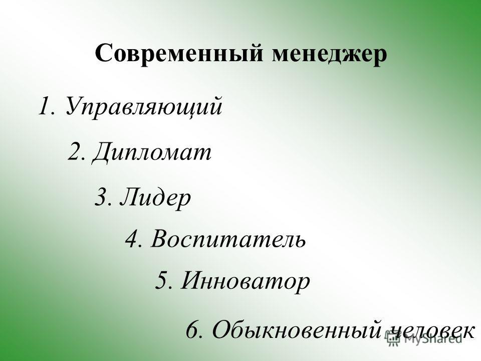 Современный менеджер 3. Лидер 2. Дипломат 1. Управляющий 5. Инноватор 4. Воспитатель 6. Обыкновенный человек