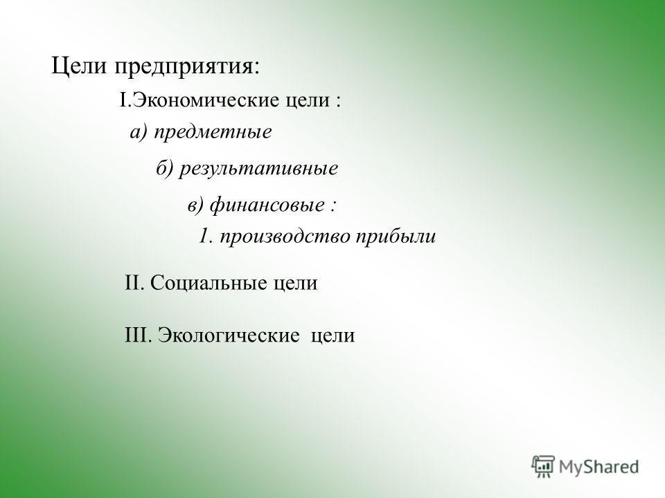 Цели предприятия: I.Экономические цели : а) предметные б) результативные в) финансовые : 1. производство прибыли II. Социальные цели III. Экологические цели