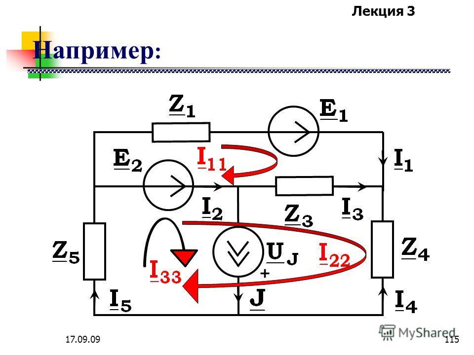 Лекция 3 17.09.09114 Для контура с источником тока контурное уравнение не составляется, так как контурный ток этого контура известен и равен току источника тока, причем через источник тока должен проходить только один контурный ток