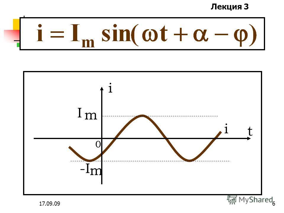 Лекция 3 17.09.095 Т[c] – период колебания; f =1/T[Гц] – частота колебаний; ω=2πf=2π/T[рад/c] – круговая частота. Промышленная частота f=50 Гц, T=0.02 c, ω=314 рад/с.