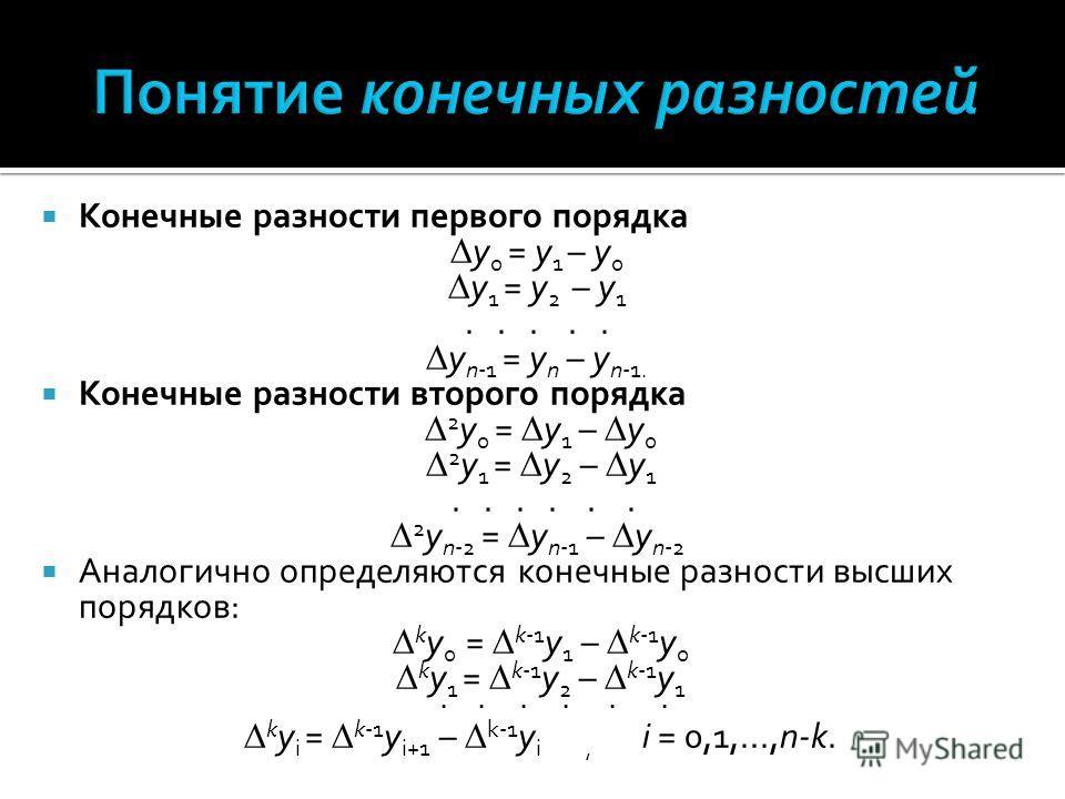 Конечные разности первого порядка y 0 = y 1 – y 0 y 1 = y 2 – y 1..... y n-1 = y n – y n-1. Конечные разности второго порядка 2 y 0 = y 1 – y 0 2 y 1 = y 2 – y 1...... 2 y n-2 = y n-1 – y n-2 Аналогично определяются конечные разности высших порядков: