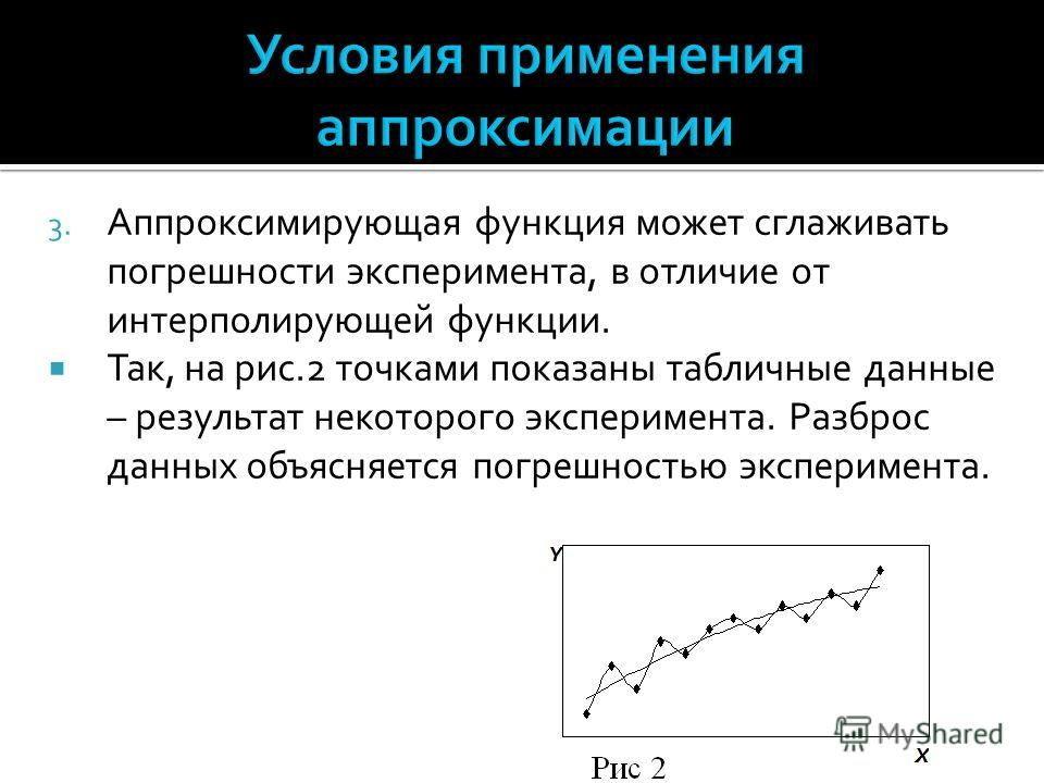 3. Аппроксимирующая функция может сглаживать погрешности эксперимента, в отличие от интерполирующей функции. Так, на рис.2 точками показаны табличные данные – результат некоторого эксперимента. Разброс данных объясняется погрешностью эксперимента.