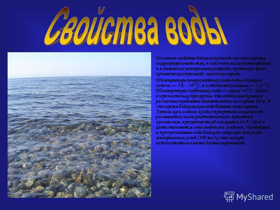 Основные свойства байкальской воды можно коротко охарактеризовать так: в ней очень мало растворённых и взвешенных минеральных веществ, ничтожно мало органических примесей, много кислорода. Температура поверхностных слоёв воды в Байкале летом +8…+9 °С