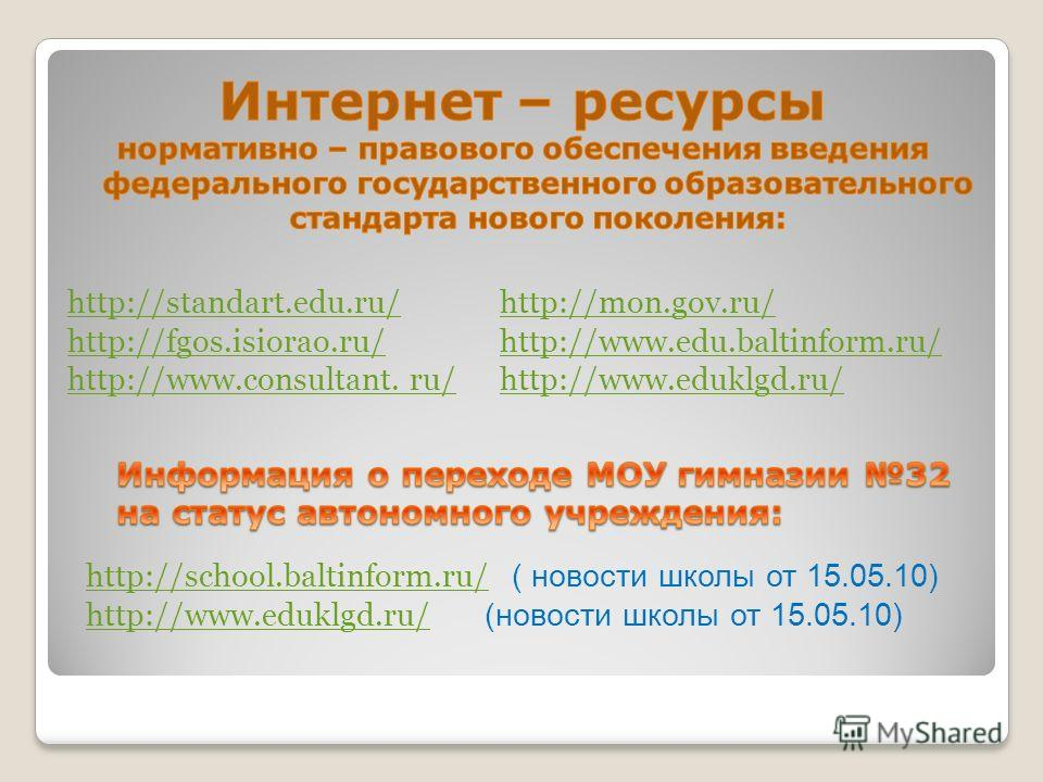 http://school.baltinform.ru/http://school.baltinform.ru/ ( новости школы от 15.05.10) http://www.eduklgd.ru/http://www.eduklgd.ru/ (новости школы от 15.05.10) http://standart.edu.ru/ http://fgos.isiorao.ru/ http://www.consultant. ru/ http://mon.gov.r