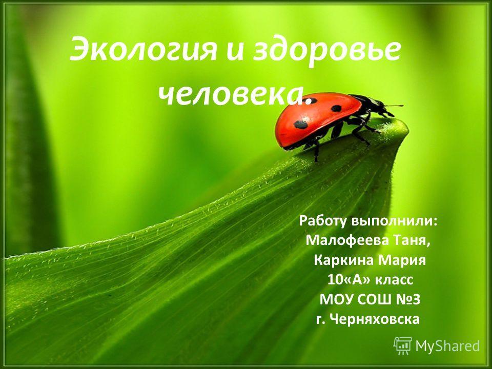 Работу выполнили: Малофеева Таня, Каркина Мария 10«А» класс МОУ СОШ 3 г. Черняховска Экология и здоровье человека.
