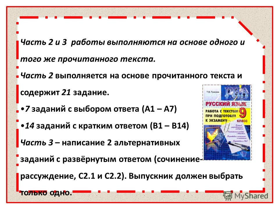 Часть 2 и 3 работы выполняются на основе одного и того же прочитанного текста. Часть 2 выполняется на основе прочитанного текста и содержит 21 задание. 7 заданий с выбором ответа (А1 – А7) 14 заданий с кратким ответом (В1 – В14) Часть 3 – написание 2