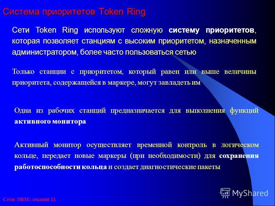 Сети ЭВМ: лекция 11 Система приоритетов Token Ring Сети Тоkеn Ring используют сложную систему приоритетов, которая позволяет станциям с высоким приоритетом, назначенным администратором, более часто пользоваться сетью Только станции с приоритетом, кот
