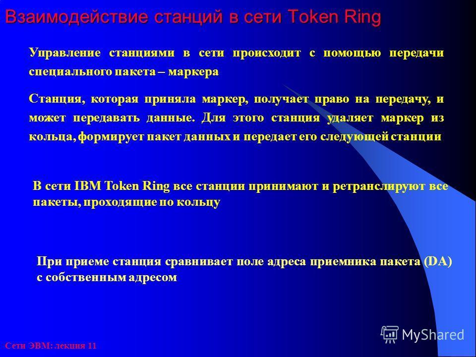 Сети ЭВМ: лекция 11 Взаимодействие станций в сети Token Ring Управление станциями в сети происходит с помощью передачи специального пакета – маркера Станция, которая приняла маркер, получает право на передачу, и может передавать данные. Для этого ста
