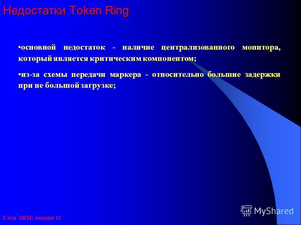 Сети ЭВМ: лекция 11 Недостатки Token Ring основной недостаток - наличие централизованного монитора, который является критическим компонентом; из-за схемы передачи маркера - относительно большие задержки при не большой загрузке;