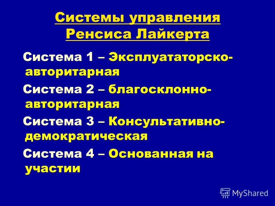 Системы управления Ренсиса Лайкерта Система 1 – Эксплуататорско- авторитарная Система 2 – благосклонно- авторитарная Система 3 – Консультативно- демократическая Система 4 – Основанная на участии