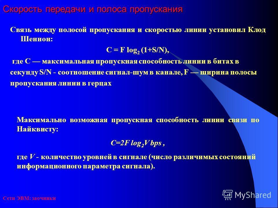 Сети ЭВМ: заочники Скорость передачи и полоса пропускания Связь между полосой пропускания и скоростью линии установил Клод Шеннон: С = F log 2 (1+S/N), где С максимальная пропускная способность линии в битах в секунду S/N - соотношение сигнал-шум в к