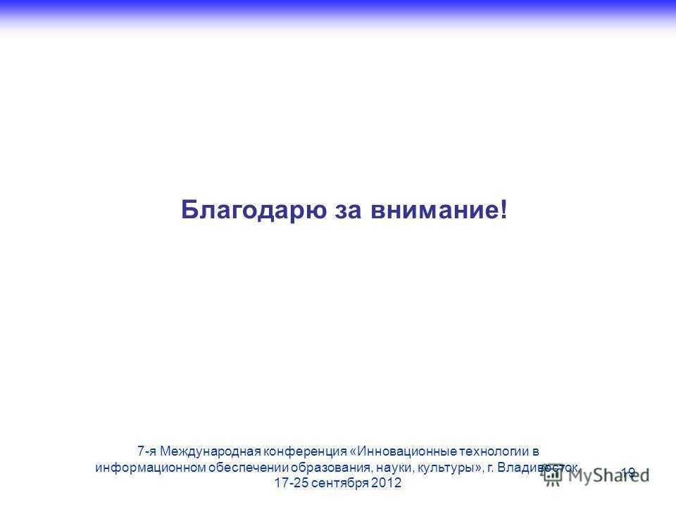 Благодарю за внимание! 19 7-я Международная конференция «Инновационные технологии в информационном обеспечении образования, науки, культуры», г. Владивосток, 17-25 сентября 2012
