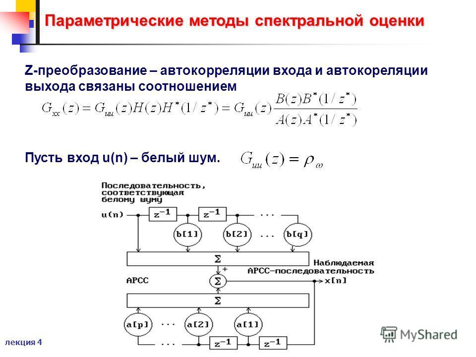 лекция 4 Параметрические методы спектральной оценки Z-преобразование – автокорреляции входа и автокореляции выхода связаны соотношением Пусть вход u(n) – белый шум.