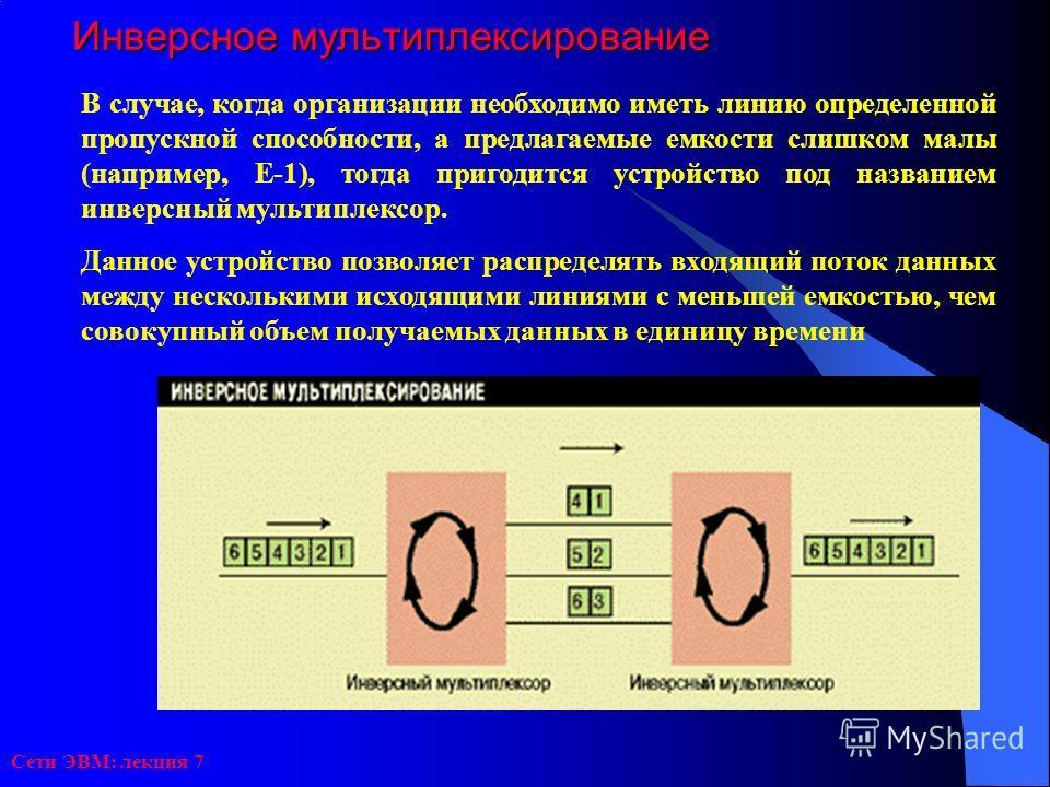 Сети ЭВМ: лекция 7 Инверсное мультиплексирование В случае, когда организации необходимо иметь линию определенной пропускной способности, а предлагаемые емкости слишком малы (например, Е-1), тогда пригодится устройство под названием инверсный мультипл