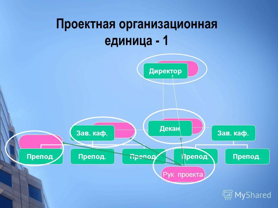Проектная организационная единица - 1 Декан Зав. каф. Препод. Рук. проекта Директор