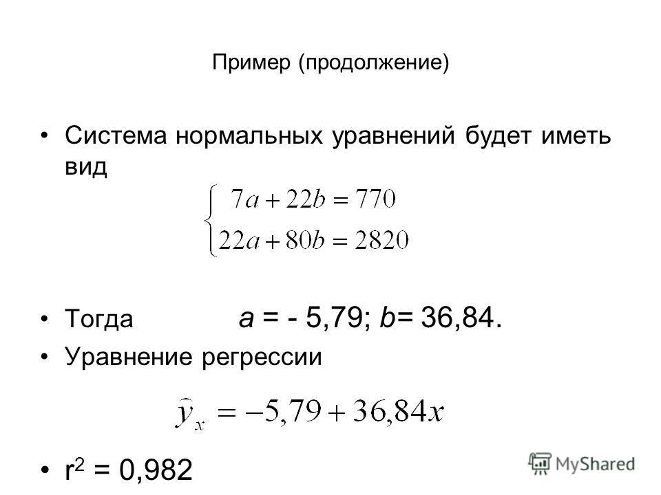 Пример (продолжение) Система нормальных уравнений будет иметь вид Тогда а = - 5,79; b= 36,84. Уравнение регрессии r 2 = 0,982