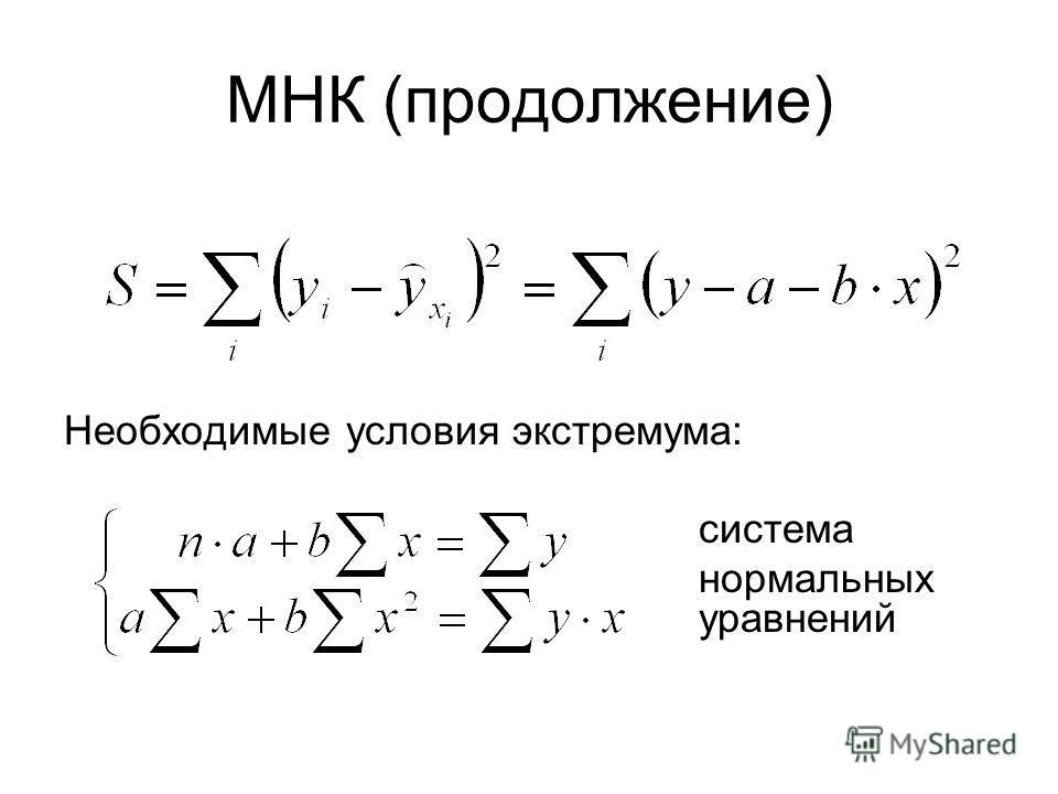 МНК (продолжение) Необходимые условия экстремума: система нормальных уравнений
