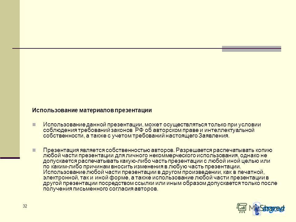 32 Использование материалов презентации Использование данной презентации, может осуществляться только при условии соблюдения требований законов РФ об авторском праве и интеллектуальной собственности, а также с учетом требований настоящего Заявления.