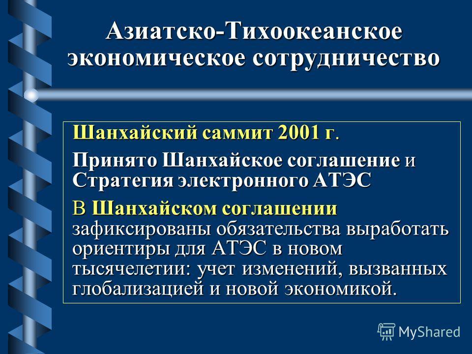 Азиатско-Тихоокеанское экономическое сотрудничество Шанхайский саммит 2001 г. Принято Шанхайское соглашение и Стратегия электронного АТЭС В Шанхайском соглашении зафиксированы обязательства выработать ориентиры для АТЭС в новом тысячелетии: учет изме