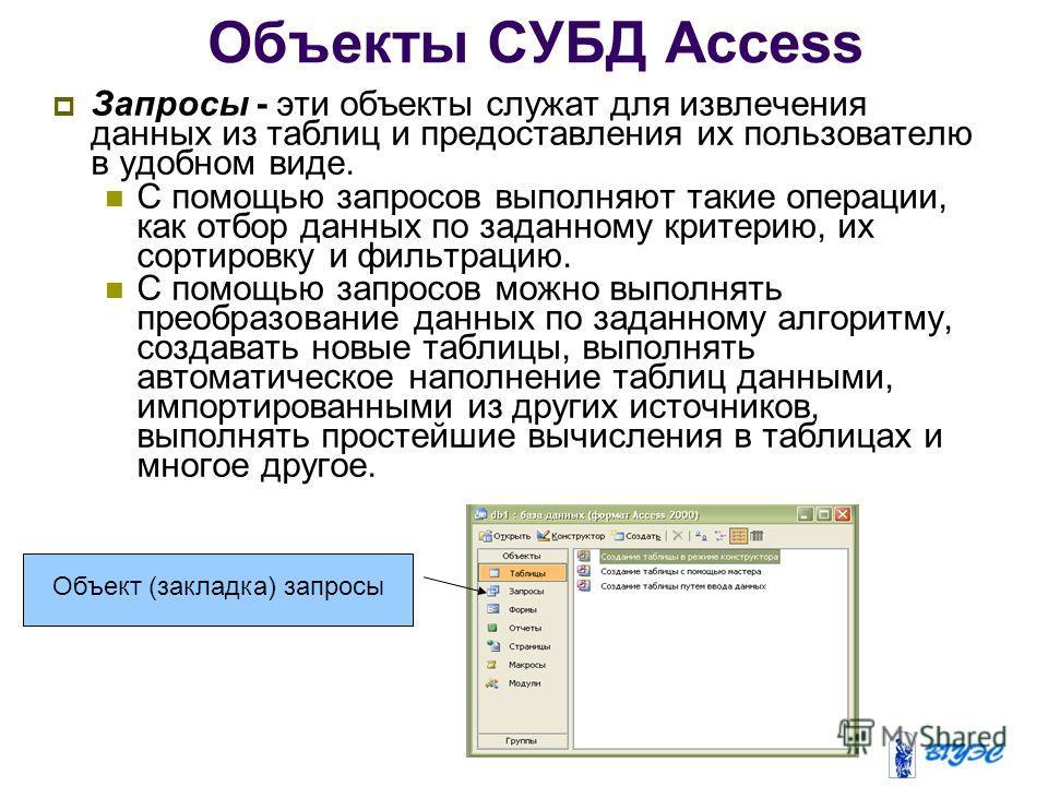 Объекты СУБД Access Запросы - эти объекты служат для извлечения данных из таблиц и предоставления их пользователю в удобном виде. С помощью запросов выполняют такие операции, как отбор данных по заданному критерию, их сортировку и фильтрацию. С помощ