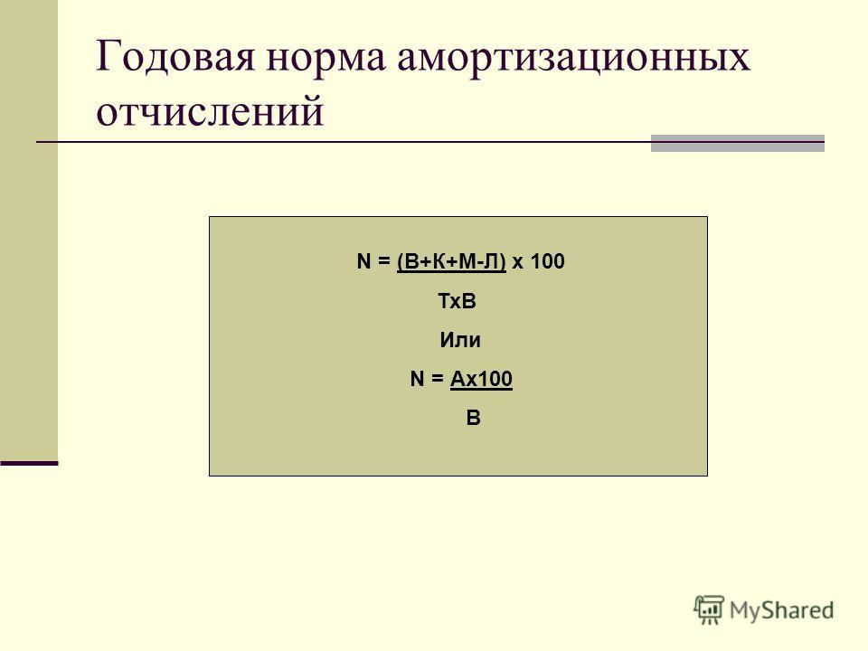 Годовая норма амортизационных отчислений N = (В+К+М-Л) х 100 ТхВ Или N = Ах100 В