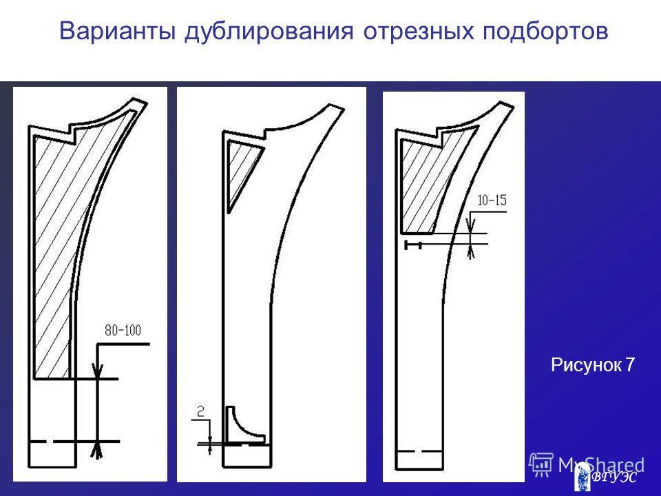 Рисунок 7 Варианты дублирования отрезных подбортов