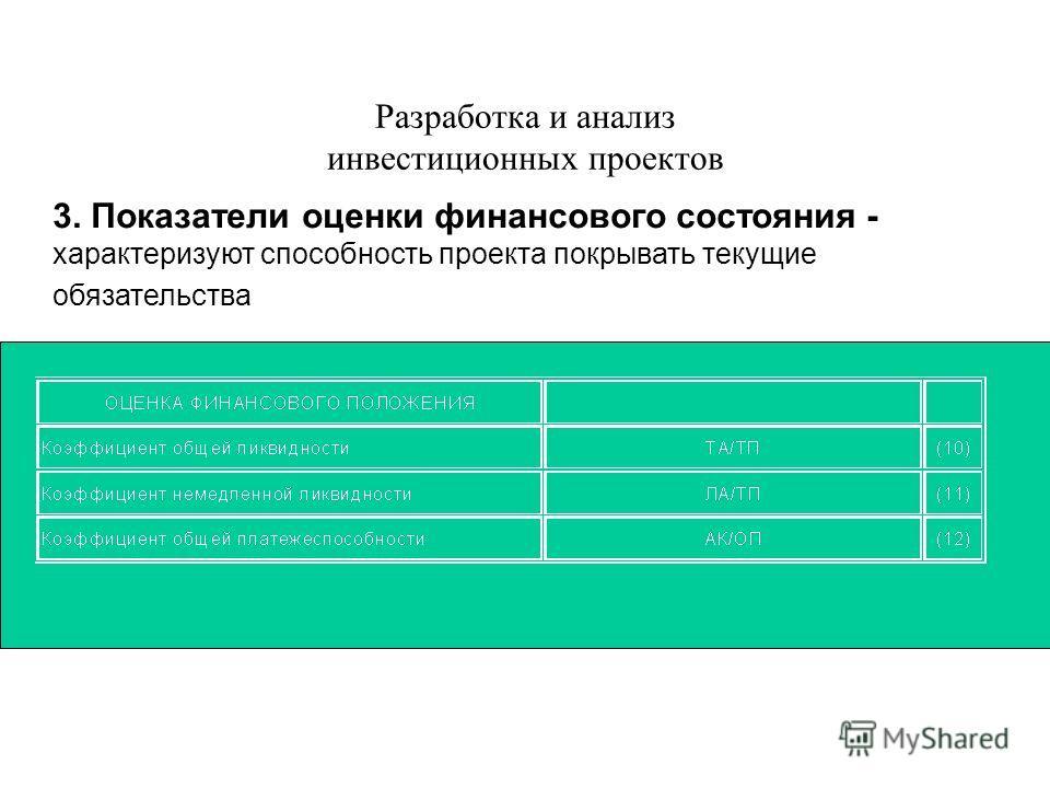 Разработка и анализ инвестиционных проектов 3. Показатели оценки финансового состояния - характеризуют способность проекта покрывать текущие обязательства