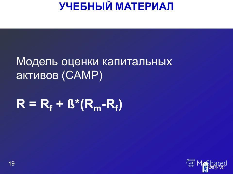 УЧЕБНЫЙ МАТЕРИАЛ 19 Модель оценки капитальных активов (САМР) R = R f + ß*(R m -R f )