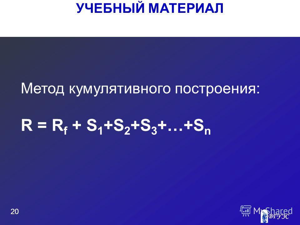 УЧЕБНЫЙ МАТЕРИАЛ 20 Метод кумулятивного построения: R = R f + S 1 +S 2 +S 3 +…+S n