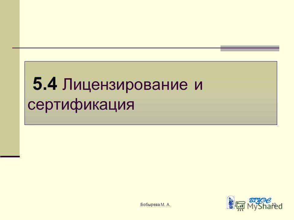 Бобырева М. А.12 5.4 Лицензирование и сертификация