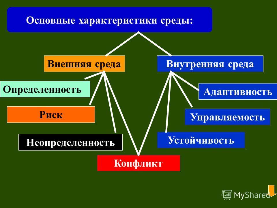 Основные характеристики среды: Внешняя средаВнутренняя среда Определенность Риск Неопределенность Конфликт Адаптивность Управляемость Устойчивость